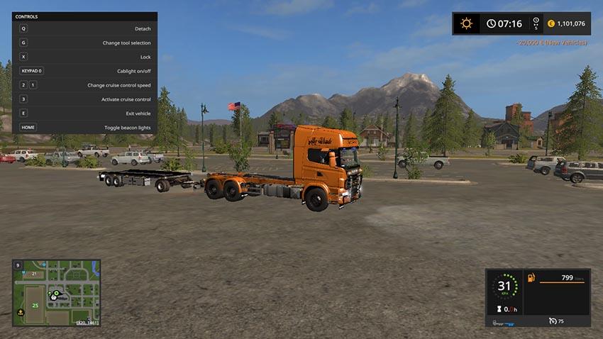 Scania V8 hook lift with rail trailer V 1.0.3.0