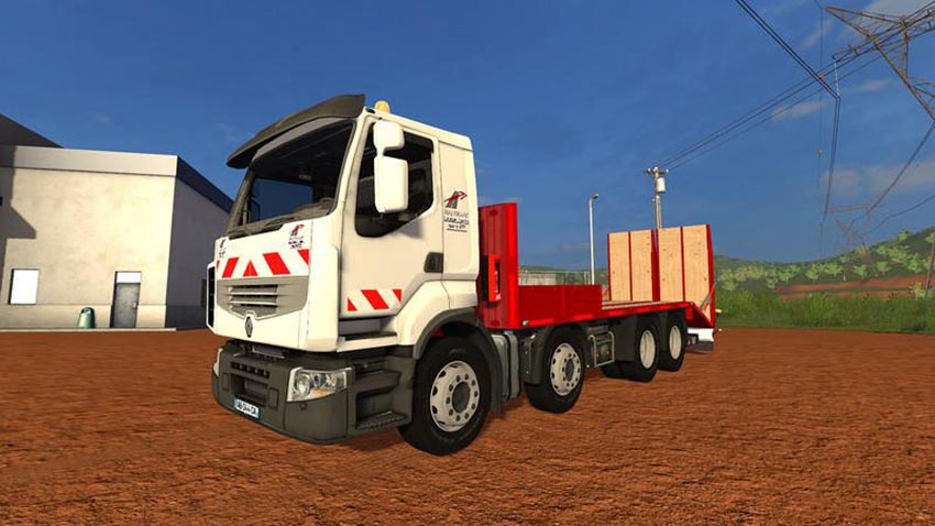 Renault low loader truck with folding ramps v 1.0.0.1